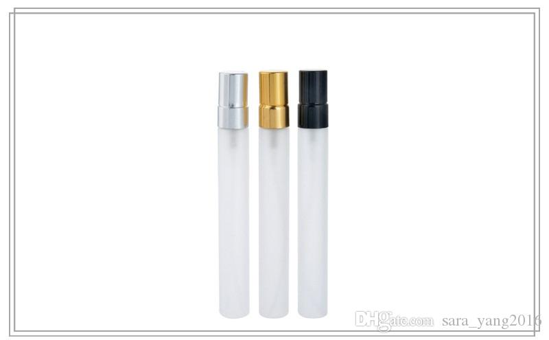 10ml Travel Frosted Glass Perfume Bottle Refillable Spray Atomizer Portable Tube Glass Sample Vials Makeup Containers wen4668