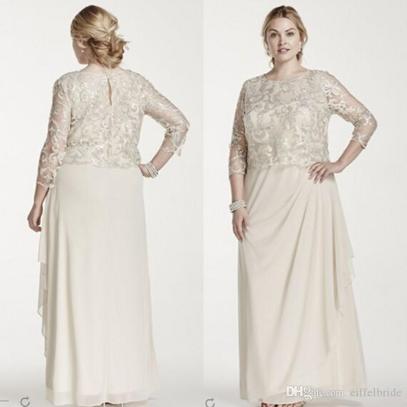 2015 Modest Mother Off Bride Dresses Elegant Plus Size Dress For