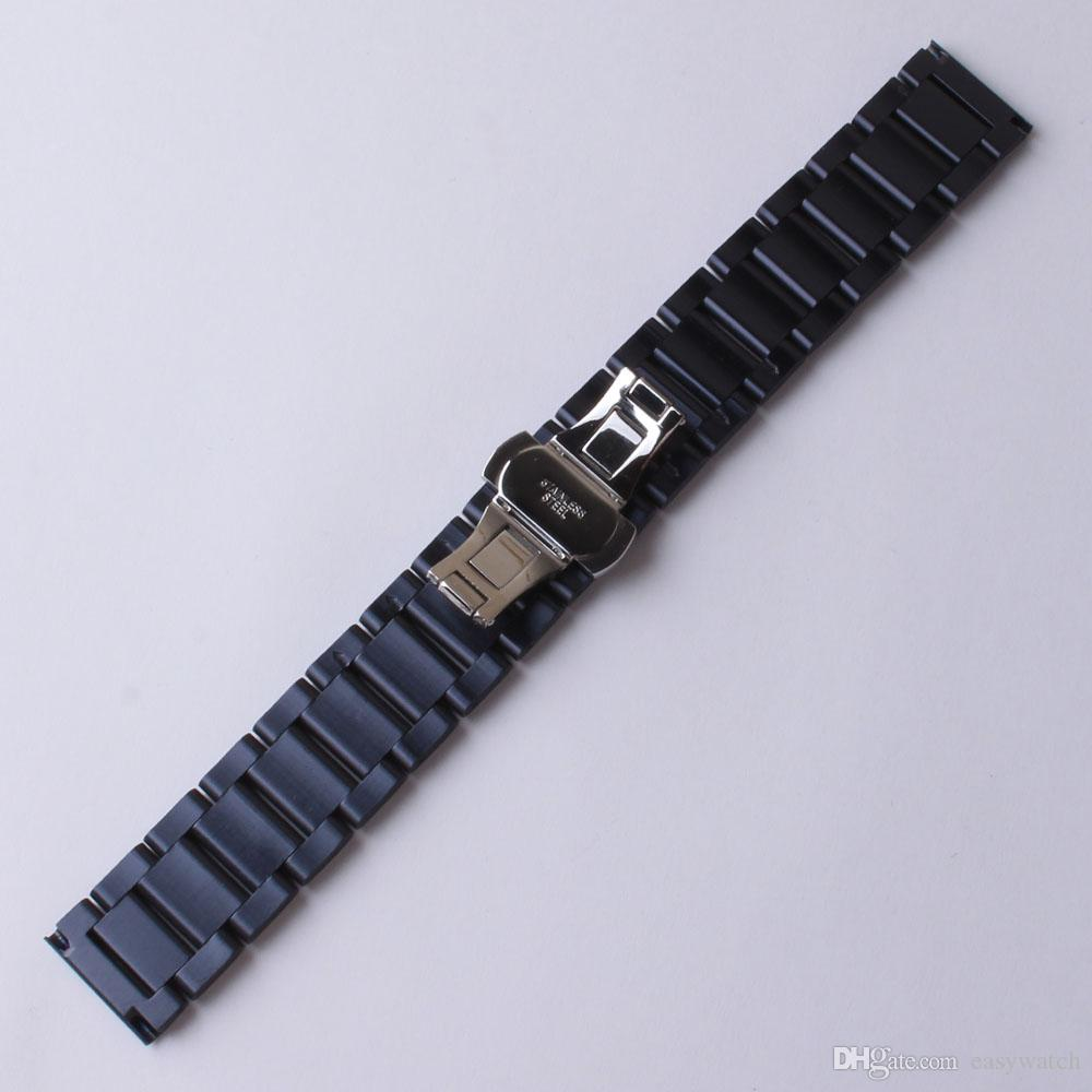 New 2017 arrival 20mm 22mm watchband strap bracelet dark blue matte stainless steel metal watch band belt for gear s2 s3 s4 men women hours