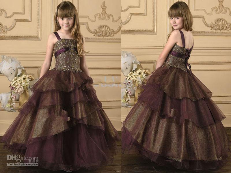 Princess Ball Gown Wedding Dresses: Brown Layers Princess Ball Gown Flower Girl Dresses Junior