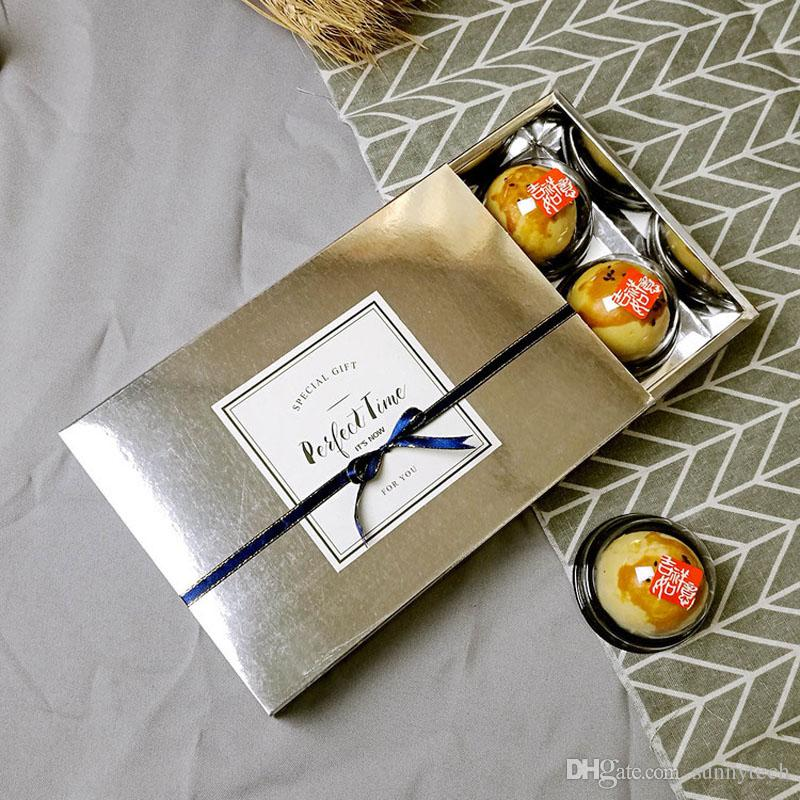 Luxury Gold Silver Colour Drawer Kraft Paper Gift Box Food Biscuit Cookies Cupcake Gift Boxes Packaging Box ZA5254