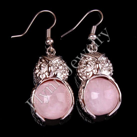 Charme Rouge Agate Onyx Aventurine etc Perle Ronde Pierre Naturelle Hibou Boucles D'oreilles Accessoires Argent Plaqué Bijoux / Mixte Ordre