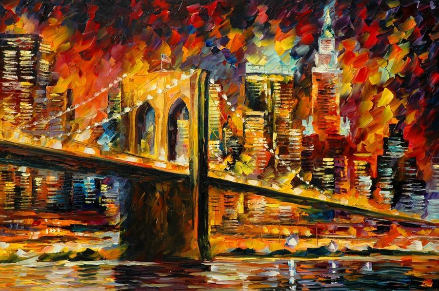 Envío Gratis Venta Caliente Moderna Pintura de Pared Home Art Decorativo Imagen Pintura Lienzo Impresiones pintura en color Puente de Brooklyn Peatones Árboles