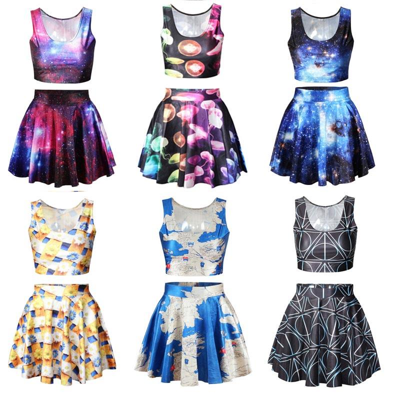 65fa014419 2019 Crop Top And Skirt Set Of 3D Galaxy Print For Pack Of Crop Tops Set  From Kaizi_520, $15.88 | DHgate.Com