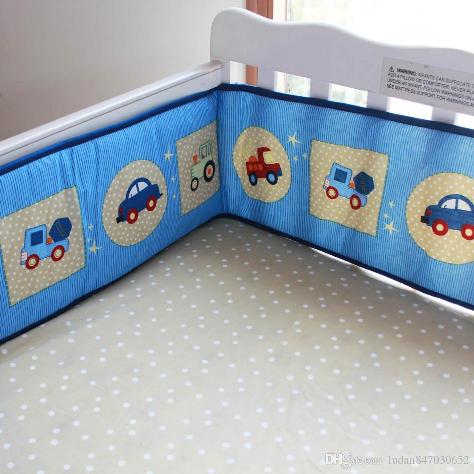 3D stereo embroidery blue cars Baby Boy Quilt Bumper Fitted Sheet Children's Bedding Sets