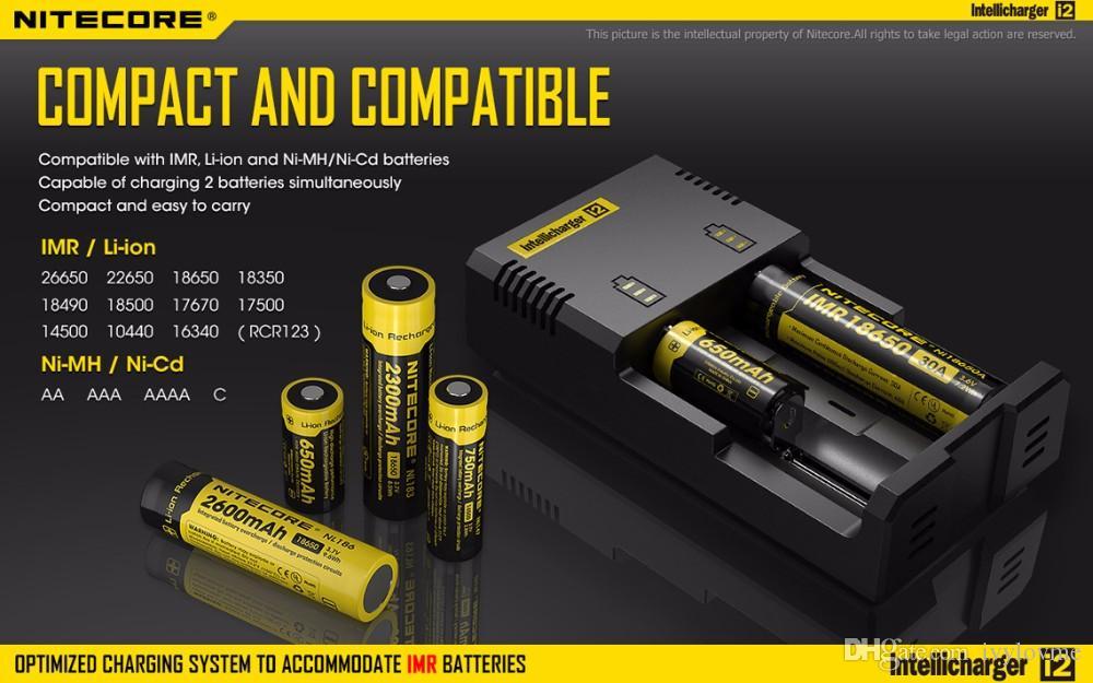 Autêntico Nitecore I2 Carregador Inteligente Universal Carregador para lg hg2 18650 14500 16340 26650 Bateria Multi Função Carregador EUA REINO UNIDO DA UE plugue