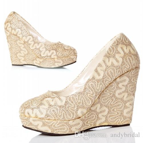 Beau Platform Pumps Gold Wedge Pumps With Thick Soles Lace Wedding Shoes With  Closed Toe Wedge Almond Toe High Heels Mother Shoes Bridal Shoes Sexy Shoes  Shoe ...