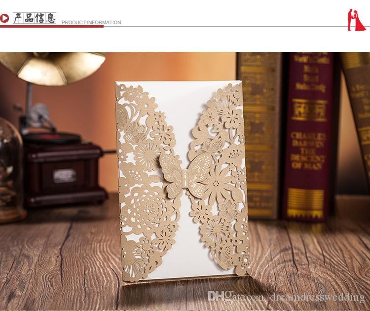 Nice 2016 Fast Shipping Wedding Invitations Card Vintage Hollow Lace Laser Cut  Printable Wedding Cards Blank Card Free Shipping Wedding Favors