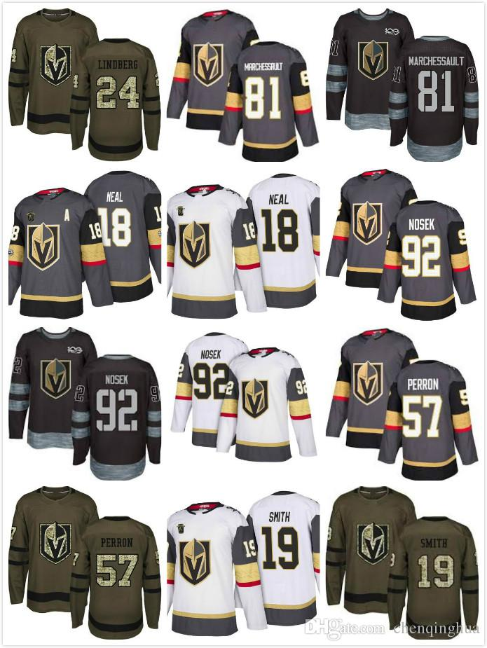 Men Vegas Golden Knights 24 Oscar Lindberg 81 Jonathan Marchessault 18 James Neal 92 Tomas Nosek 2017 2018 Stitched NHL Jersey Jerseys