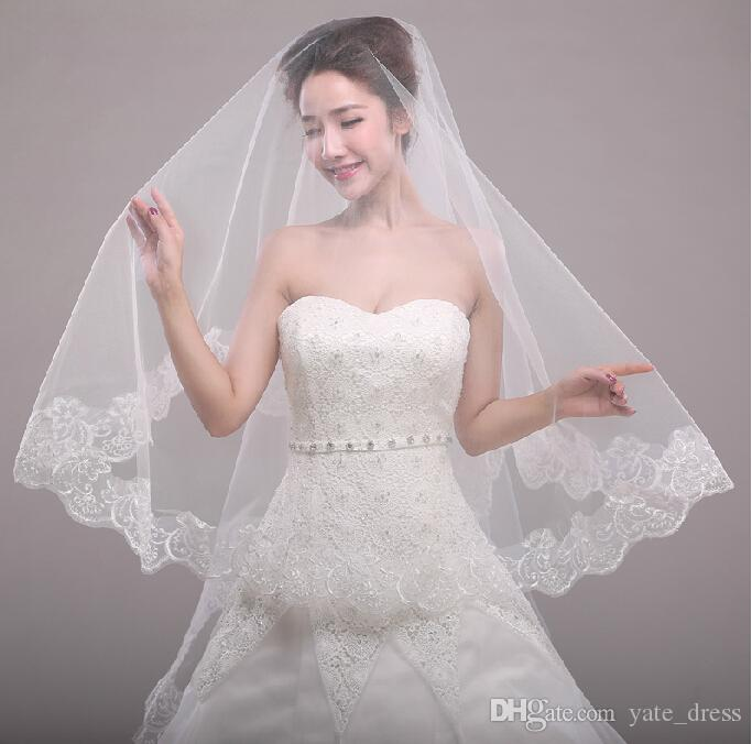 White Wedding Veils 2015 New Arrival 3m Long Bridal Tulle With Lace Applique Edge High Quality Soft Sydney Couture