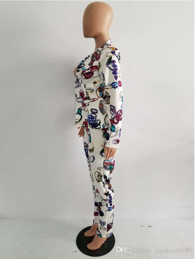 2018 봄 새 인쇄 비즈니스 정장상의 + 꽉 작은 피트 긴 바지 두 조각 정장 여성 패션 캐주얼 슬림 정장을 설정