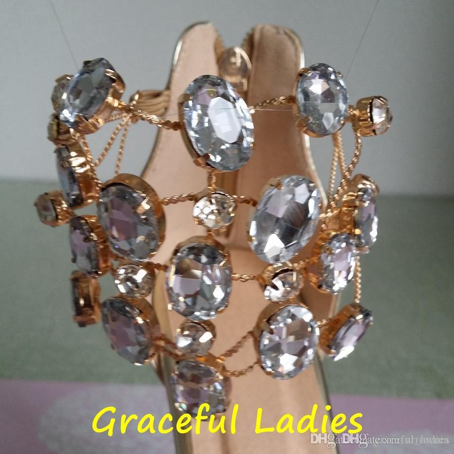 2016 Crystal Wedding Shoes Real Image Gold Zapatos de novia Rhinestone más el tamaño de los accesorios nupciales baratos Chain High Thin Heels Ladies Sandals