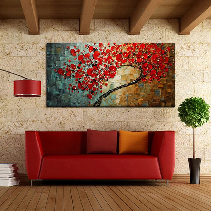 Abstract Red Flower Tree Knife Oil Painting On Canvas Beautiful Picture Wall Art Home Decor Nice Gift