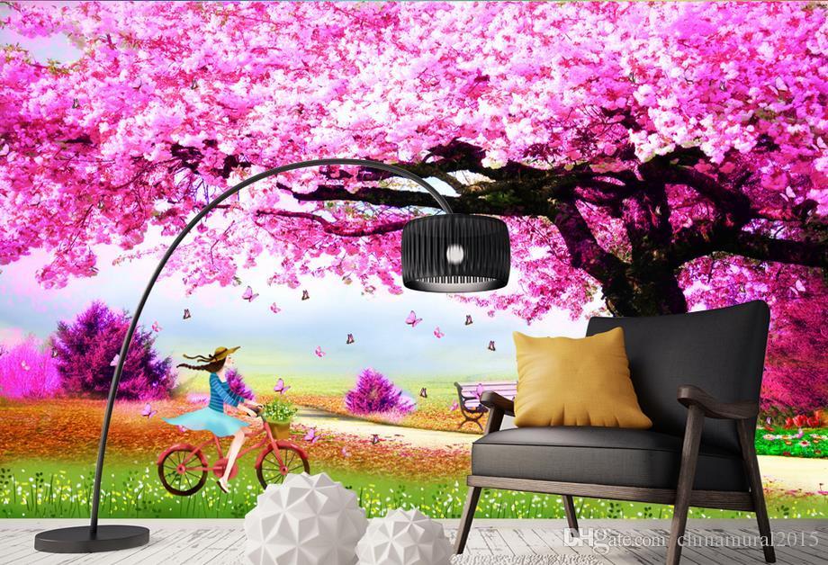 Papeles de pared diseñadores de decoración del hogar Sakura tree wedding room murales de dibujos animados wallpaper pájaros flor