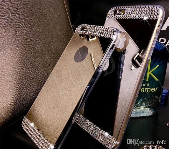 """NEW case for iphone6 Luxury Bling Mirror Cases TPU Soft Gel Cell Phone Case Glitter Rhinestone Skin Cover for iPhone 5 5S 6 6Plus 4.7"""" 5.5"""""""