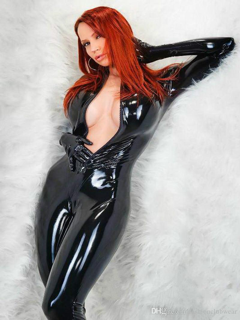 28b80acdf0 Sexy Black Faux Leather Bodysuit Zipper Front Catsuit Catwomen Costumes  Gothic Punk Jumpsuit Playsuit Erotic Clubwear for Women Catsuit Erotic  Costumes ...