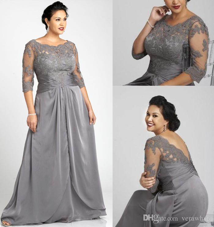 Vintage Plus Size Evening Dresses Bateau Neck Gray Chiffon 34 Long