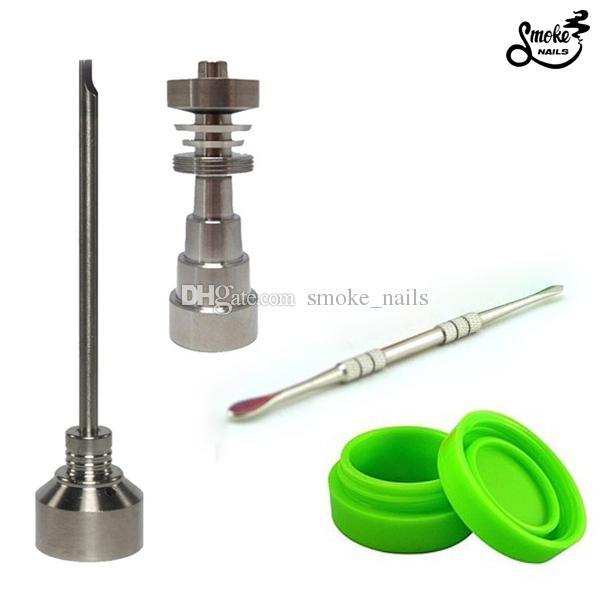 DHL livre Bong Tool Set 10/14/19 milímetros Domeless Gr2 Titanium prego Carb Cap Dabber Slicone Jar para Bongos de vidro cachimbos de água