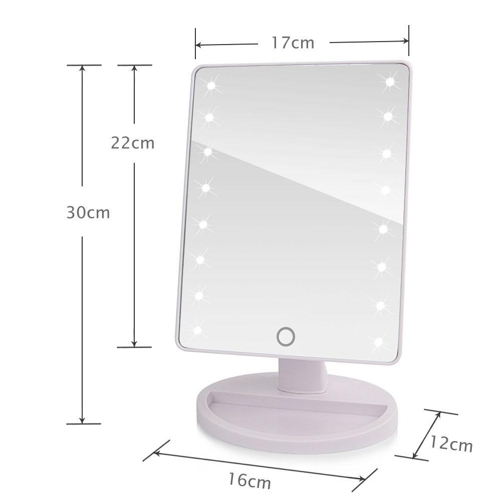 LED-Make-upspiegel-Touch Screen kosmetische beleuchten die Spiegel mit 16 22 LED-Lichtern Gesundheit Schönheits-justierbaren Gegenspitze 180 drehend