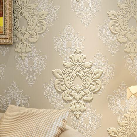 Super Luxury 3d Embossed Damask Wallpaper High Quality Fabric