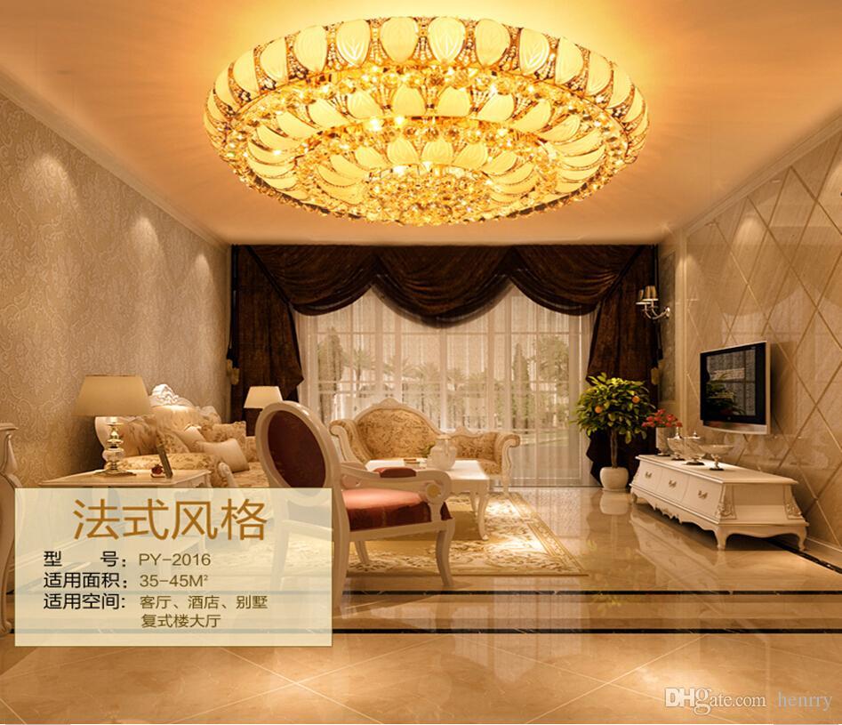 Plafón de cristal K9 tradicional dorado E 14. Plafón LED redondo que sale de la sala de estar.