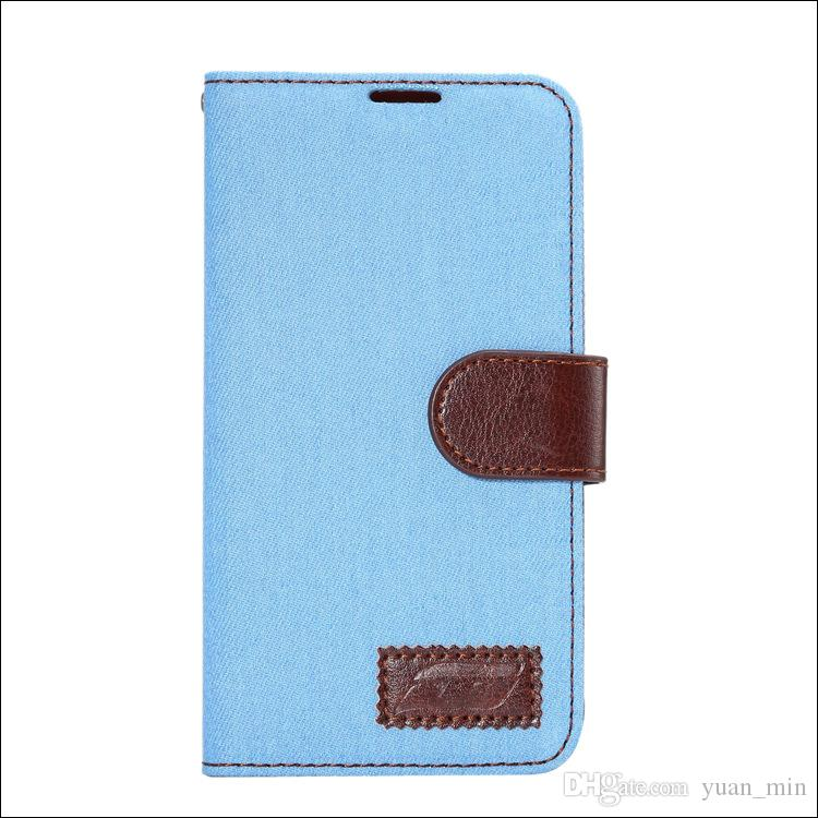 Jeans Cowboy Denim Wallet Funda de cuero para teléfono con ranura para tarjeta Money Pocket Flip Stand para iphone 6 6s plus S6 6edge Note5
