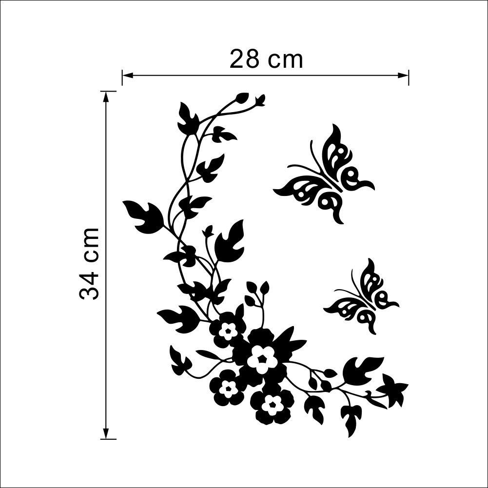 Butterfly flower rattan toilet art mural decor sticker wc rest room fashion w - Stickers muraux salon ...