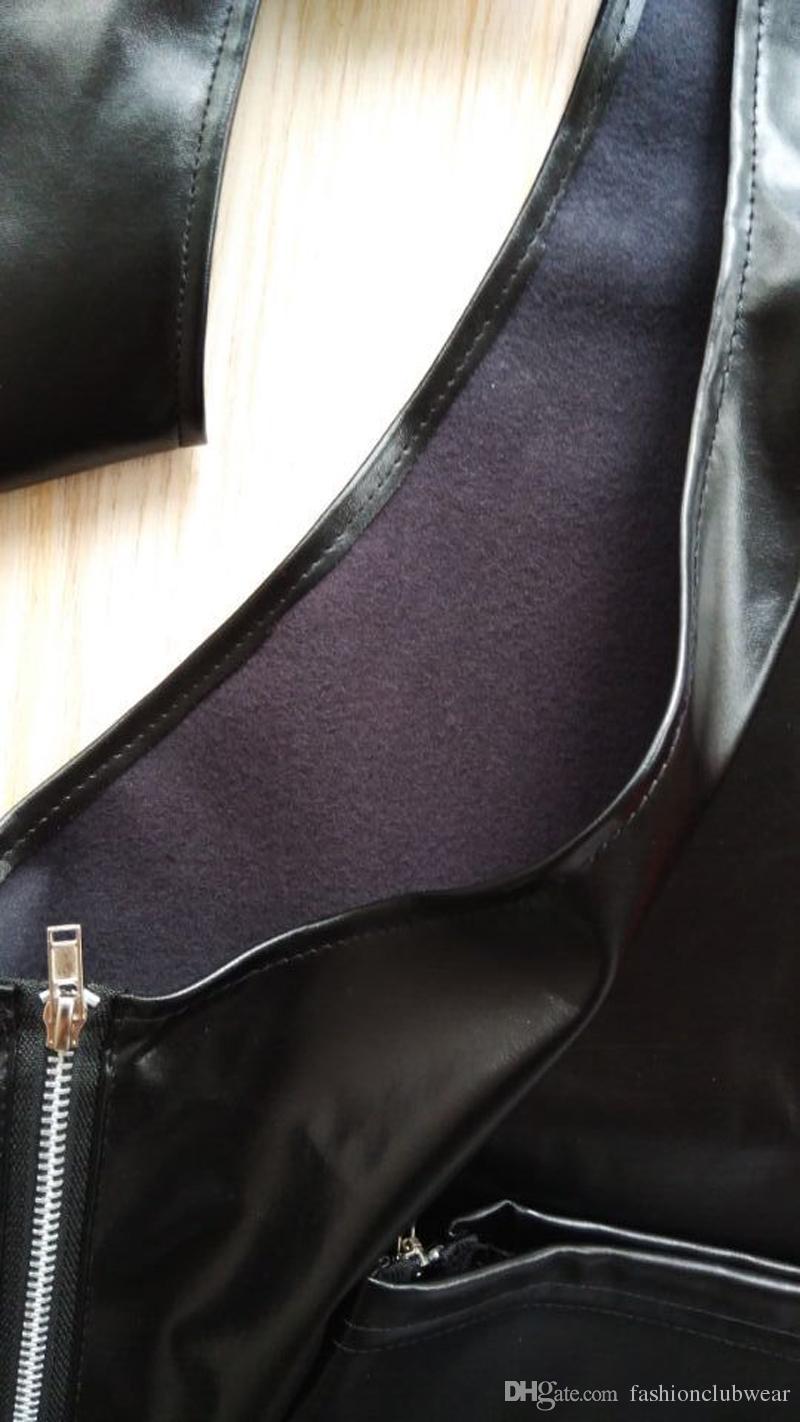 Neuheit herren pu-leder lange hosen verstellbare gürtelschnalle reißverschluss seitenhose erotik offenen rücken hohl hosen nachtclubwear