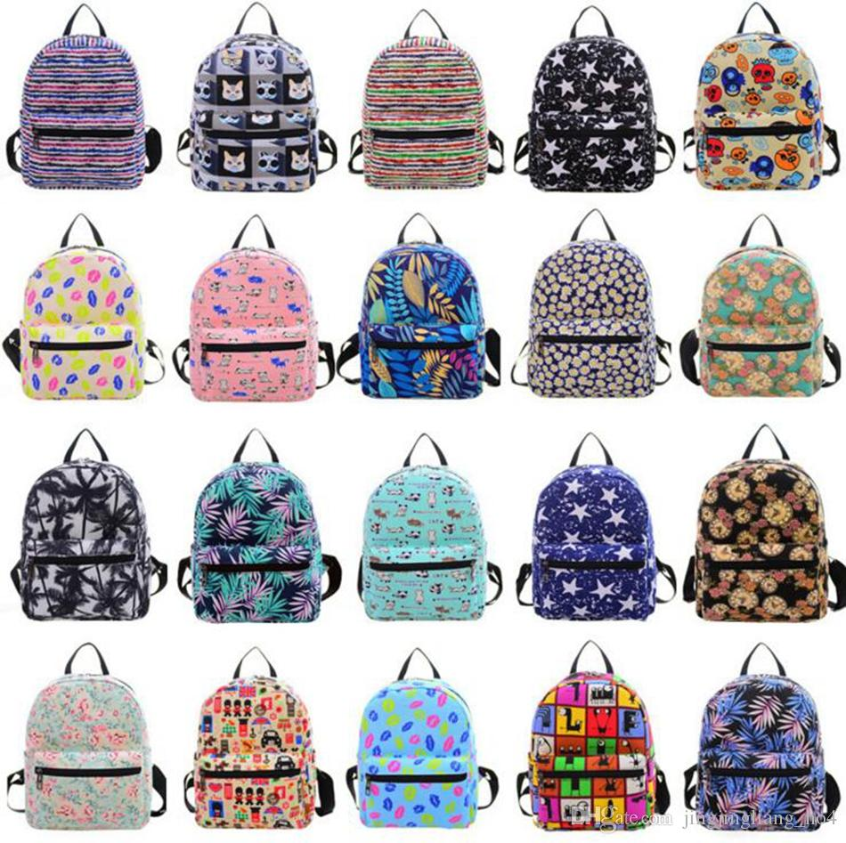 Cartoon Printing Canvas Backpacks Mini School Bags For Teenage Girls