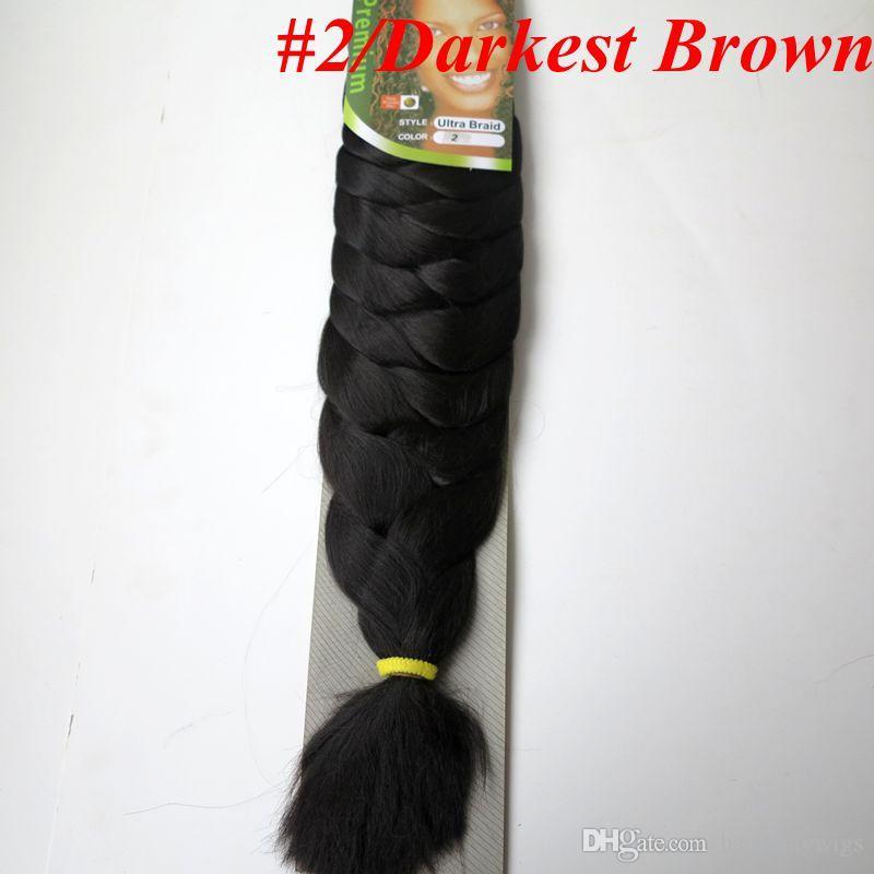 Xpression شعر تجديل اصطناعي 82 إنش 165 جرام لون واحد Ultra Braid Premium Kanekalon جامبو ملحقات تجديل الشعر