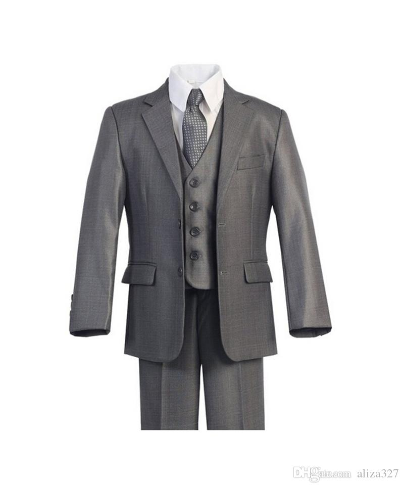 High qulity little boy suits formal occasion boys tuxedos fashion contracted pure color boys formal suits tuxedos jacket+pants+vest