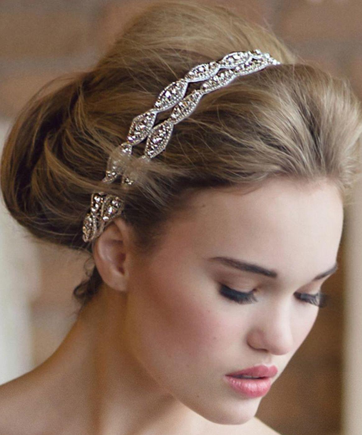 New Arrival Handmade Rhinestone Bridal Headbands Two Row Crystal ... ef510145e7e
