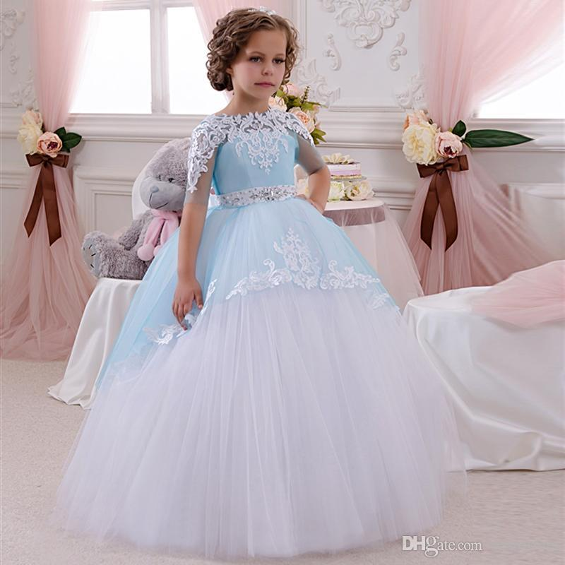 Blush Pink Cute Flower Girl Dresses For Girl Gold Sequins Top A Line Ankle  Length With Handmade Flower Baby Communion Gowns Custom BA3096 Bridesmaid  Mother ... 74d08bbcfc85