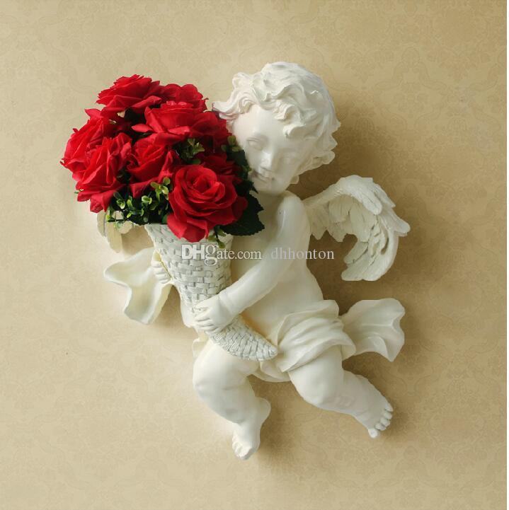 Europeanism environment-protective resin angel wall-mounted silk flower vase three branch of artificial flower tie-in sale angle