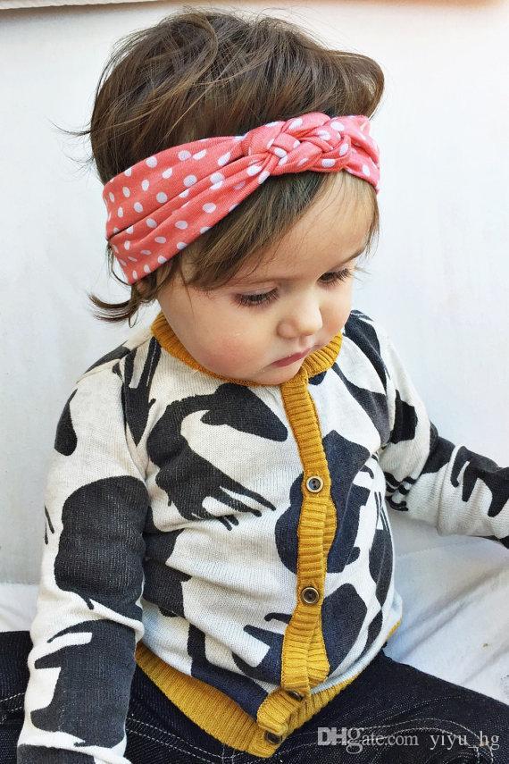2015 neonate capelli intrecciati con i bambini in modo sicuro croce nodo dot accessori capelli fascia elastica fascia bambini Boutique capelli acce