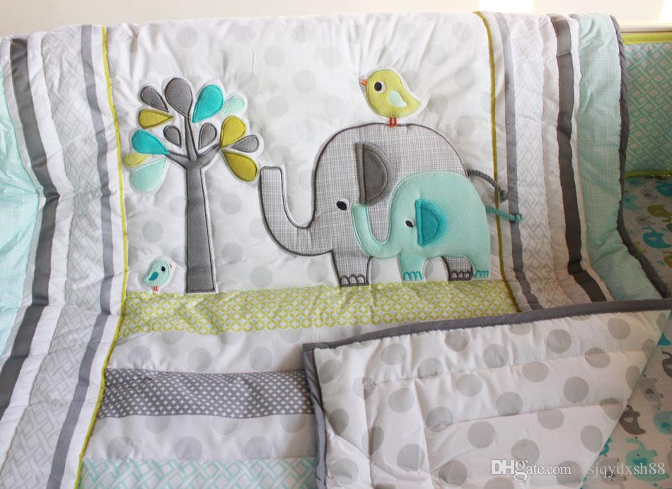 Baby bedding set comfortable Embroidery 3D elephant bird Baby crib bedding set include Baby quilt bed skirt quilt bumper