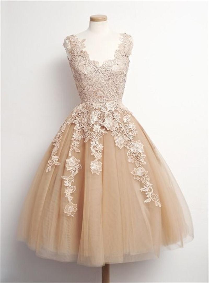 short party dresses lace appliques v neck tulle formal dresses party evening gowns. Black Bedroom Furniture Sets. Home Design Ideas