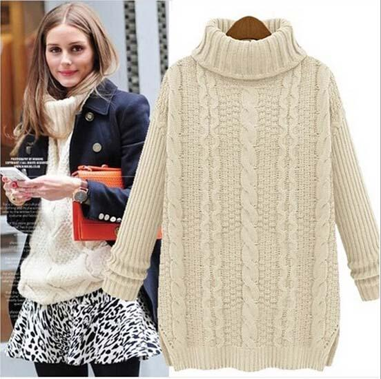 2019 2016 Winter Women Knitted Sweaters Fashion Long Sleeve Plus ... 42c22c184