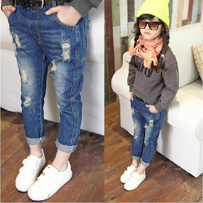 Autumn Girl Children Ripped Jeans Fashion Denim Girls ...