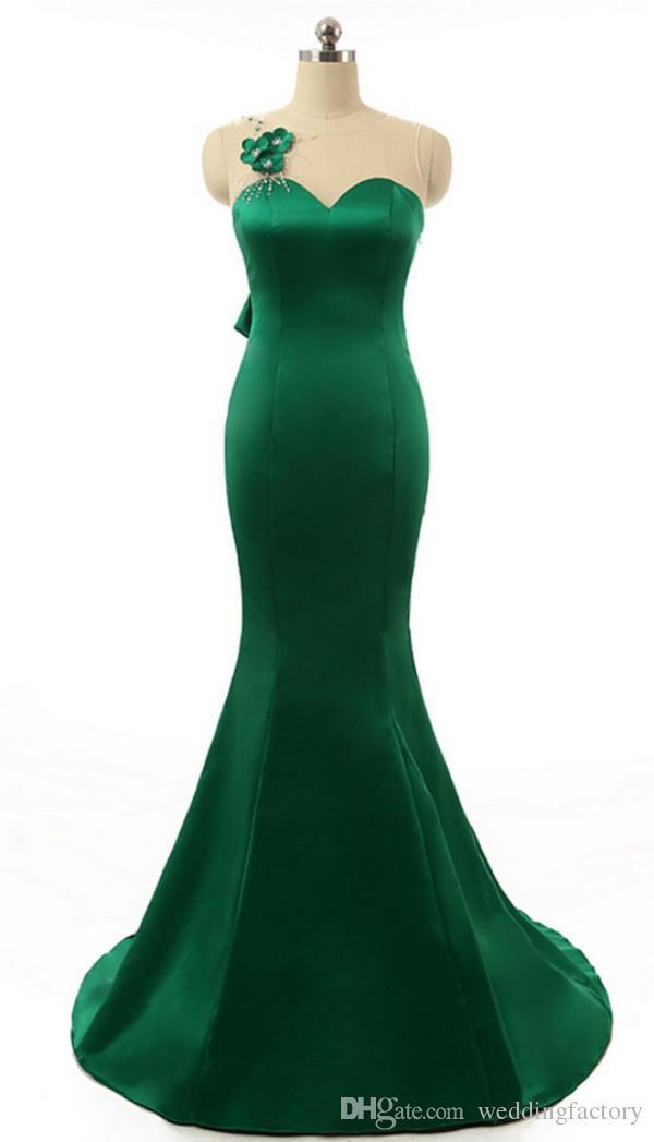 Abito da sirena elegante Abito da sposa verde smeraldo Abito da sera gioiello Collo elegante senza maniche Fiori a mano Illusion Abito da sera posteriore