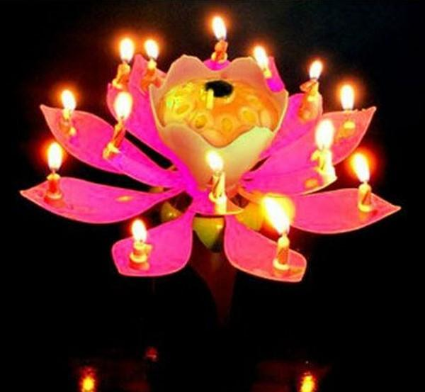 2019 Romantic Blossom Lotus Flower Candle Birthday Party Cake Musical Music Sparkle Waterproof Flame The Best Present From