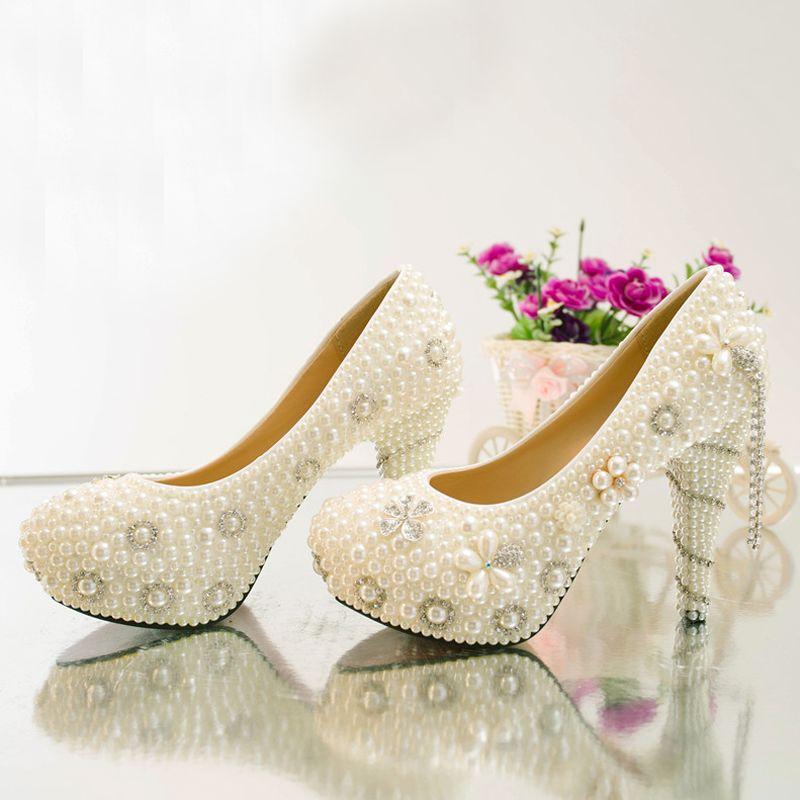 Yeni Varış Yaz Taklidi Düğün Ayakkabı Gelin Inci Kristal Elbise Ayakkabı El Sanatları Fildişi Yüksek Topuk Platformları Balo Parti Ayakkabı