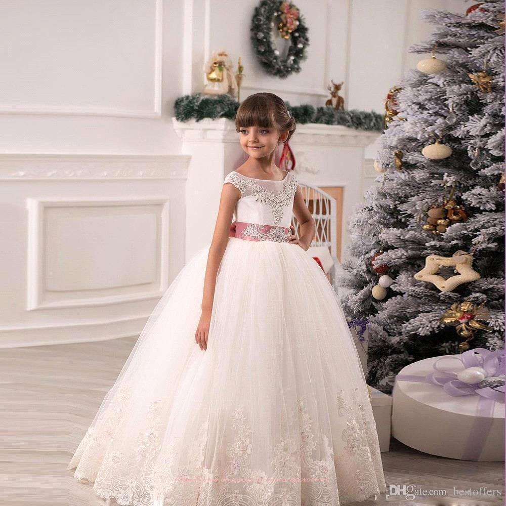 c7b073242 Blush Pink Cute Flower Girl Dresses For Girl Gold Sequins Top A Line ...