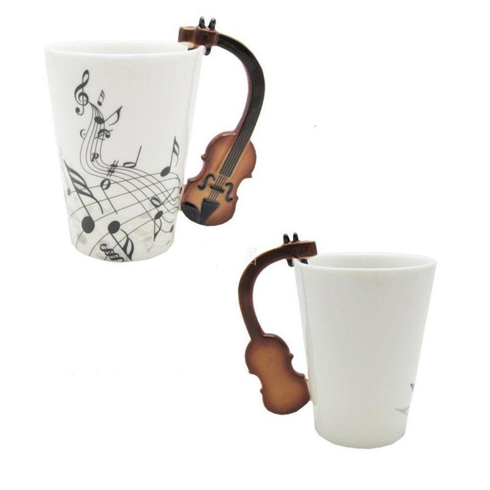 2019 Love Music Violin Notes Holds Tea Coffee Milk Ceramic Bone China Mug With