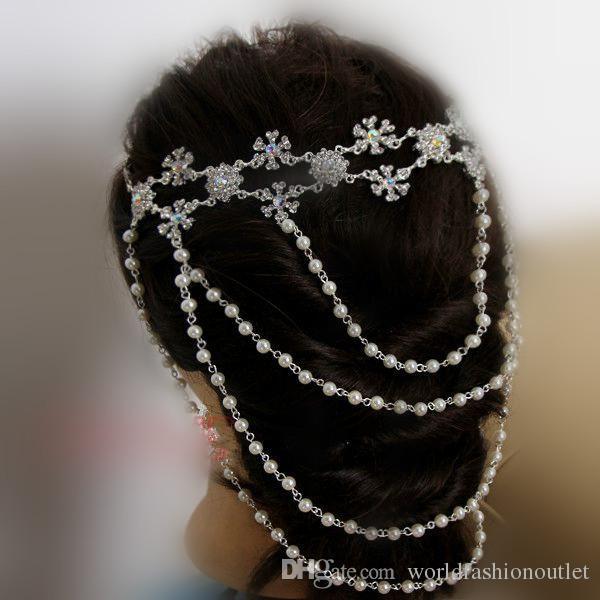 Noivado do casamento de cristal Onda cadeia mulheres pérola tassel strass colar cadeias de ombro noiva Jóias cadeia de onda de casamento Navio Livre DHL
