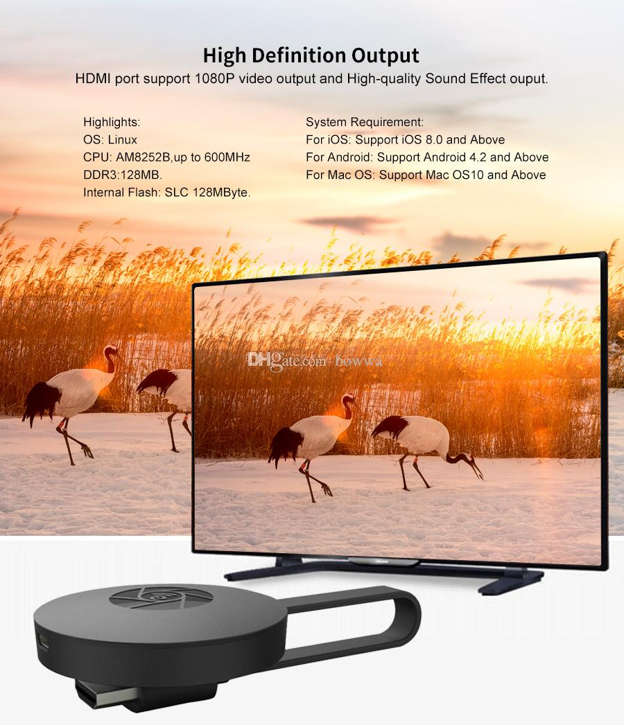 G2 Wireless WiFi Display Dongle Receiver 1080P HD TV Stick Airplay Miracast Media Streamer Adapter Media for Google Chromecast 2