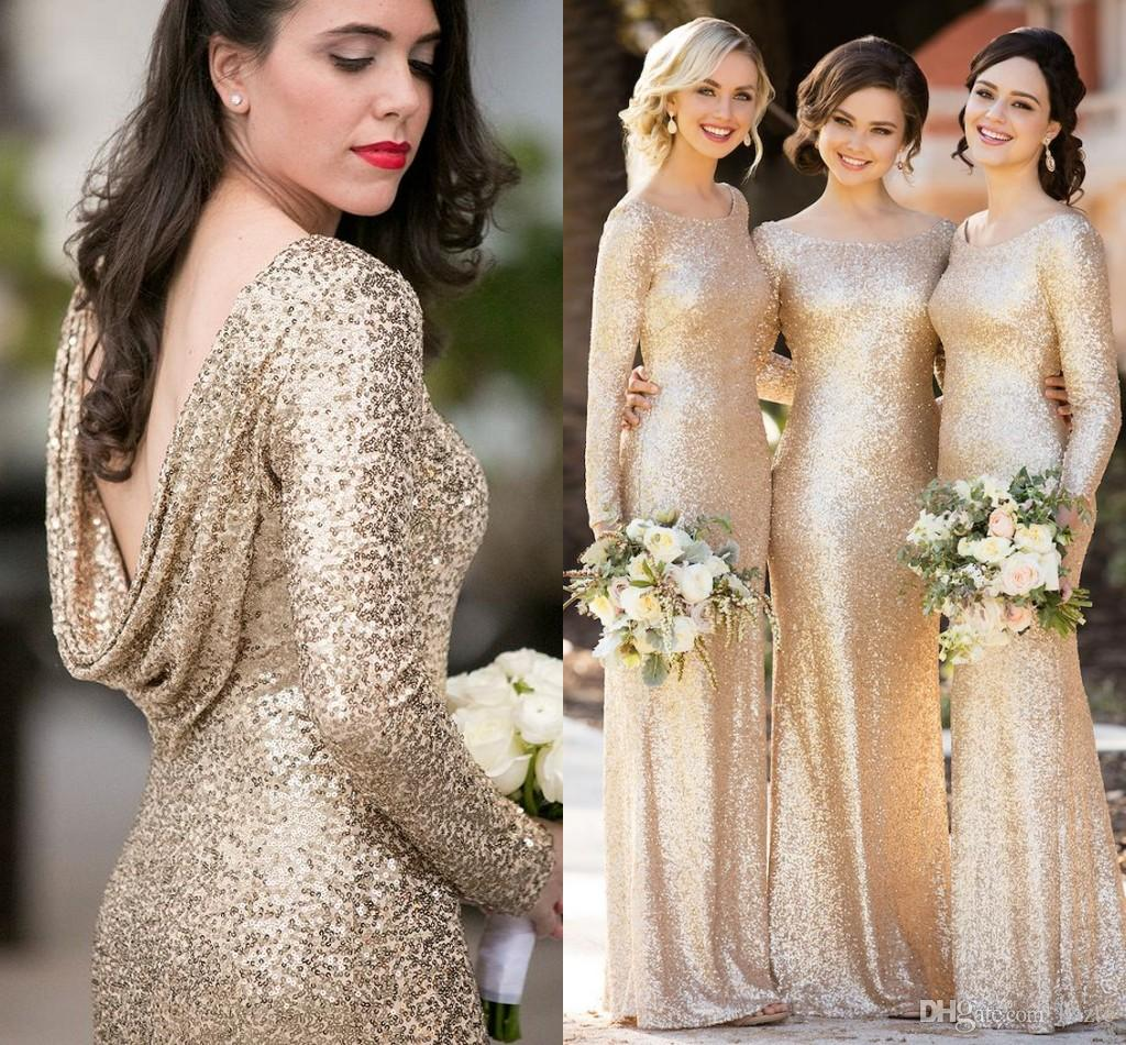 dc25b41ddb0 Sorella Vita Sparkly Champagne Sequins Bridesmaid Dresses With Long Sleeve  2018 Plus Size Cloak Back Maid Of Honor Wedding Guest Dress Cheap Vintage  Style ...