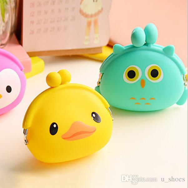 Girls Silicone Animal Cartoon small Cute Coin Purse change wallet ladies key purse wallet Coin bag Mini Wallet