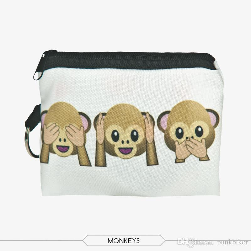 Wholesale Funny Monkey Prints Mini Square Coin Purse Wallet 3d Women Purse Porte Monnaie Cute Small Zipper Pouch Fashion Keys Bags