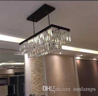 Kitchen Bar led hanging chandelier crystal lamp L60cm / L85cm rectanglar dining room Black gray & crystal Chandeliers led Pendant Lamps